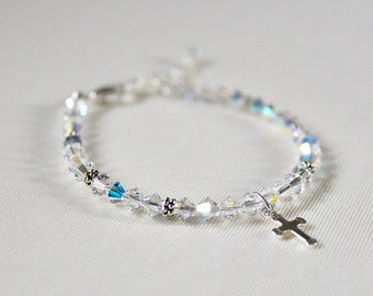 Confirmation Gifts For Girls,First Communion Bracelet,Unique,Swarovski Crystal,Sterling Silver,Cross,Bracelet,First Communion Gift for Girl