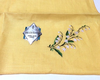 Vintage Irish Linen, Linen Tray Cloth, Embroidered Linen, Yellow with Lily of the Valley, Tags Attched, Perfect Condition