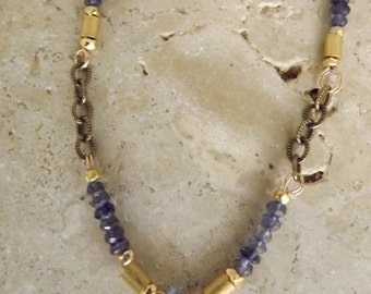 Iolite and gold necklace