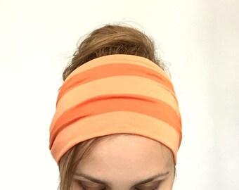 Extra wide headband wide head band stretch jersey knit tangerine orange beach bandana hair wrap summer headwrap