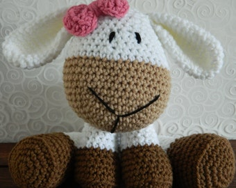 Crochet Sheep/Lamb Toy with Bow