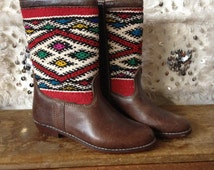 Moroccan Vintage Kelim Leather Boots