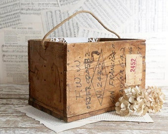 Vintage Wooden Crate Wooden Box Rope Handle Rustic Home Decor Country Farmhouse