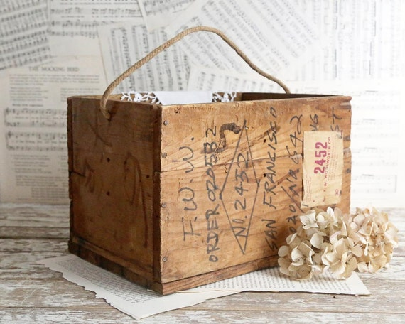 Vintage wooden crate box rope handle rustic home