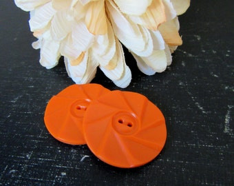 Vintage Large Orange Swirl  Buttons Set of 2  Mod Funky Hip Groovy  Big Orange Plastic Buttons