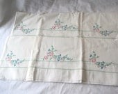 Collectible Vintage Lot of 2 Embroidered Pillowcases Handmade Flowers Design Used Condition