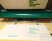 Hey Thanks for That , letterpress thank you card , thanks , funny thank you , orange , green