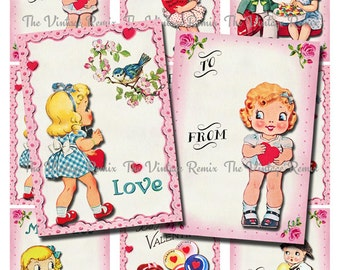 Printable Valentine Cards, Instant Download, Digital Collage Sheet of Retro Vintage Kids.  Scrapbooking Clip Art.  Set of 9.