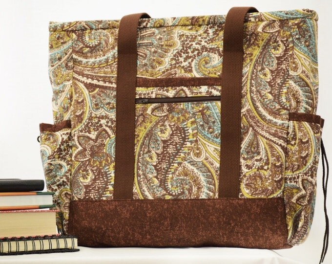 Large Tote with zipper, Travel Tote, Diaper Bag with pockets, Work Tote, Professional Tote, Paisley Large Tote, Teacher Tote, Nurse Bag