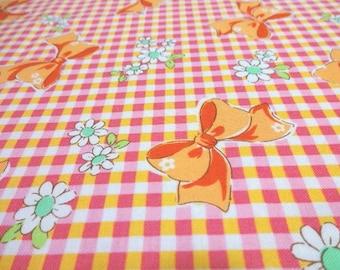 Japanese Fabric YUWA Ribbon Flower Orange Fat Quarter