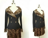 ON SALE 1980s Does 60s Vintage Women's Leopard Print Suit Size S