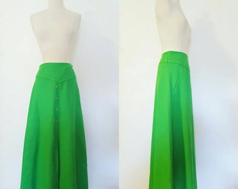 1960s Vintage Granny Smith Apple Women's Maxi Skirt Size M