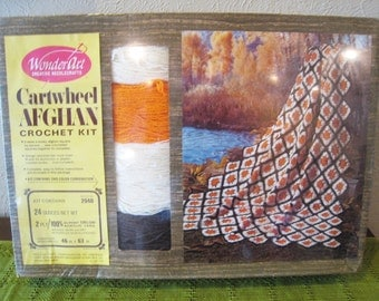 CLEARANCE Sale // NOS / NIB Vintage 1970s Afghan Crochet Kit Orange, Brown and White Cartwheel Pattern / Scalloped Edges / Granny Squares