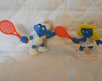 Vintage Smurf Tennis Players By Peyo