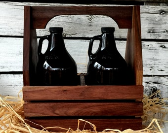 Growler Tote, Personalized Growler Tote, Engraved Tote, Growler Bottle Caddy 64 oz.