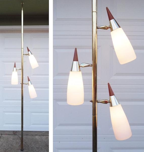 Melrose Mid Century Brass White Shade Floor Lamp: Danish Modern Pole Lamp Mid Century Modern Eames Era Cone