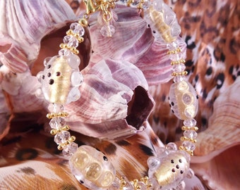 Lampwork and Crystal Anklet-AB007