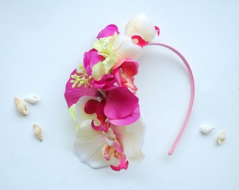 Pink Ivory Orchids Bridal Headband, Weddings Hair Accessories, Bridal Orchids Hair Piece, Mermaid Headband, Beach Hawaiian Wedding, Prom