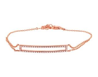 0.18CT 14K rose gold diamond bracelet