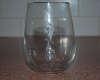 Juice Drinking Glass with Swirly Glass Etched Design