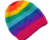 Slouchy Rainbow Beanie - Red, Orange, Yellow, Green, Turquoise, Blue, Purple and Pink Striped Crochet Hat - Multicoloured ROYGBIV Dread Tam