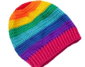 Slouchy Rainbow Beanie Rainbow Tam Multicolor Crochet Stripey Hat Rainbow Dread Hat Womens Rainbow Hat Hippy Beanie Girls Kawaii Slouch Hat