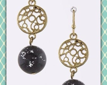 Gold filigree and Obsidian Earrings