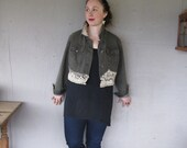 Bohemian upcycled clothing denim jacket Romantic lace jacket Lagenlook cropped bolero Eco artsy jacket 1 X 2 X by LillieNoraDryGoods