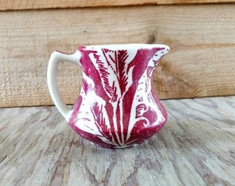 Banana Leaf Shadow Maroon Red  and Ivory Restaurant Ware Creamer Individual Pitcher Tepco China
