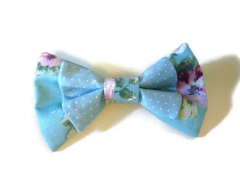 Blue 2 Tiered Bow (Dots/Floral)