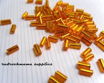 Orange Silver Lined 4.5mm Glass Bugle Beads   -D2B1-1