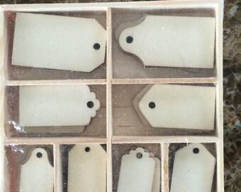 Wood Die Cuts - Laser Cut - Unfinished Embellishments - Tags - Labels - Wooden Box - 40 pcs