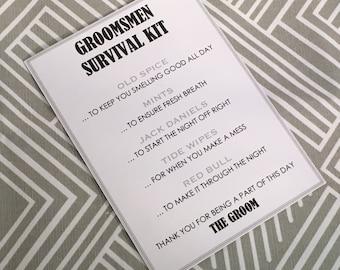 Groomsmen Survival Kit - 5x7 - Postcard - Hard Copy