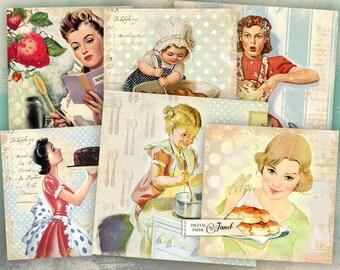 Cooking Cards 1 - set of 6 - digital collage sheet - Printable Download