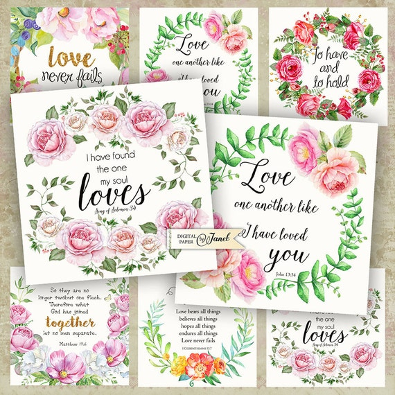 Bible Wedding Quote - set of 6 cards - digital collage sheet - Printable Download