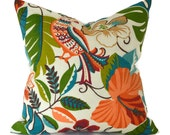 Indoor Outdoor Pillow Cover ANY SIZE Decorative Pillows Outdoor Pillow Cover Tropical Orange Pillow Richloom Outdoor Lensing Jungle