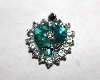 Aquamarine Heart Charm/Pendant with Rhinestones and Flower and Silver Tone Bail