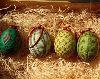 Handmade Copper Wire Wrapped Easter Eggs - Set of 4 green