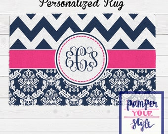 Chevron and Damask Personalized Area Rug - Navy Blue and Hot Pink Area Rug - Circle Monogrammed Rug - Bedroom Custom Rug