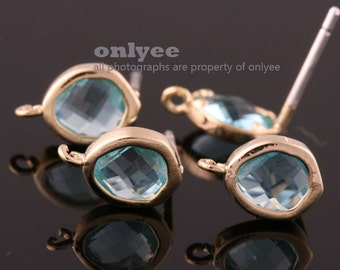 2pcs/1pair-Bright Gold plated Brass faceted New Round glass 925 sterling silver post earrings-Aqua(M394G-H)