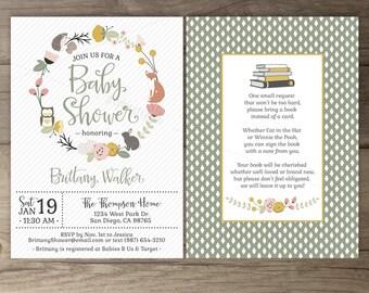 Woodland Baby Shower Invitations • Floral Wreath • Fox Hedgehog Owl Bunny • book instead of a card • printable Invites