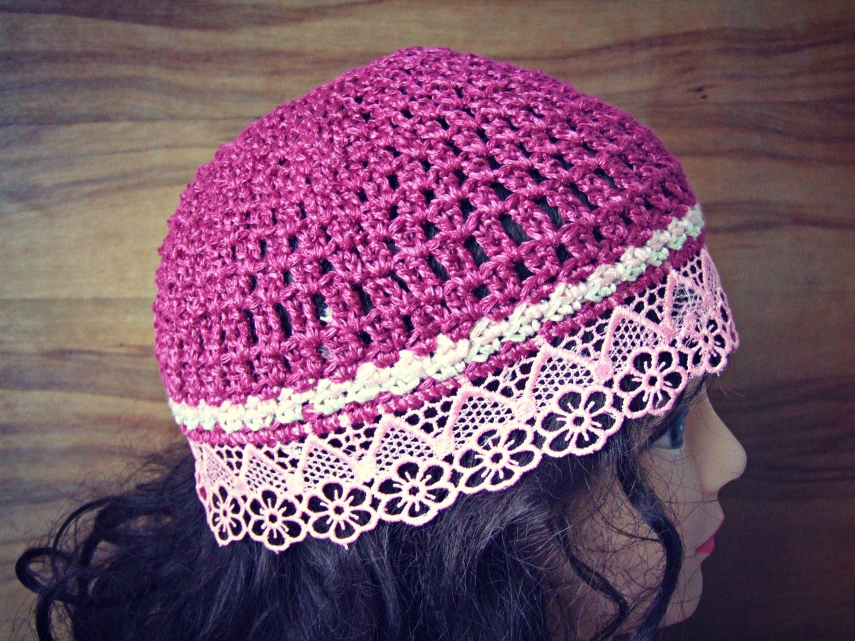 Summer Beanie Hat Crochet Pattern : Fuschia Summer Beanie HAT COTTON crochet hat women by ZAPrix