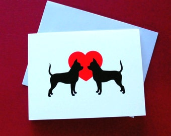 Chihuahua Love Cards - Stationery Set - Note Cards - Pack of 4 or 12 Chihuahua Dog Cards