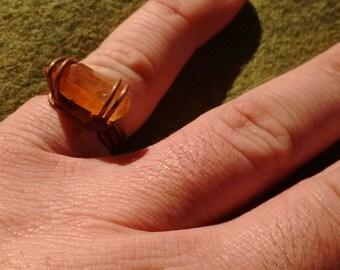 Handmade tangerine quartz crystal ring , tangerine quartz crystal wrapped ring,copper tangerine crystal wrapped ring,crystal ring
