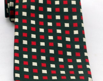 Vintage Men's Red Green and White Checkered Tie/ Retro Green Red White Squares Necktie