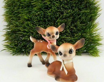 Vintage Deer Figurines Ceramic Fawn, Bambi Made in Japan Set of 2 Kitschy Collectibles