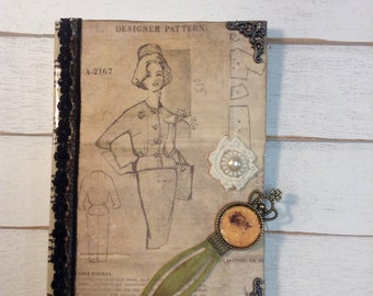 Minnie Altered Ruled Journal Book with vintage crown bookmark