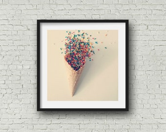 Ice Cream Sprinkles Photograph Print Waffle Cone Sprinkles Art Bakery Decor Colorful Ice Cream Shop