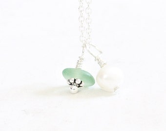 Beach Glass Necklace with Pearl, Sea Glass Jewelry, Dainty Seaglass Necklace