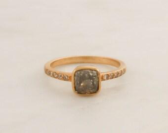 Cushion Gray Diamond Bezel Ring in 18K Yellow Gold